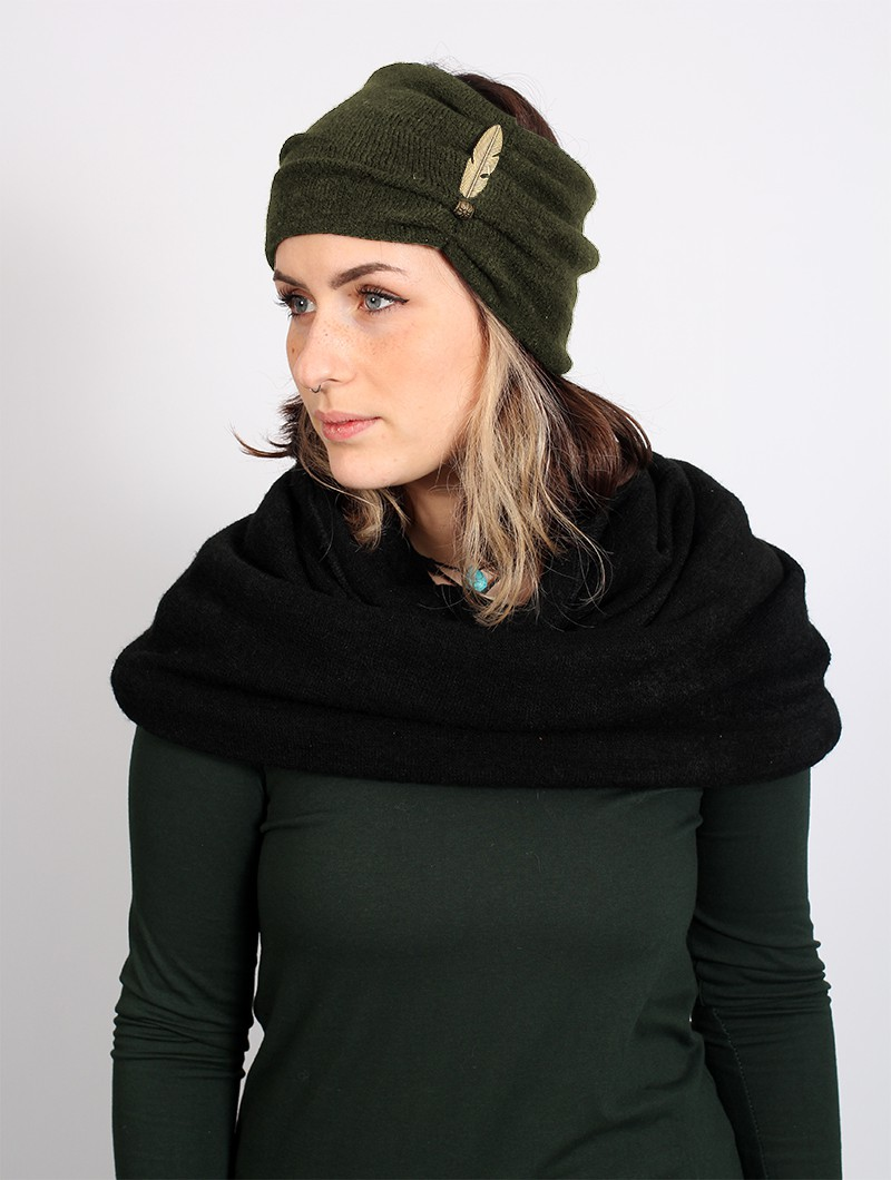 """Aikköoz\"" feathered turban, Khaki green"