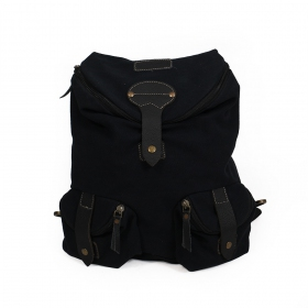 """Akamu\"" backpack, Leather and cotton"