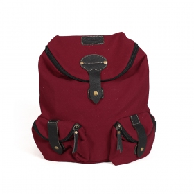 """Akamu\"" backpack, Leather and wine cotton"
