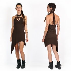 "\""Akanksha\"" half long dress, Brown"