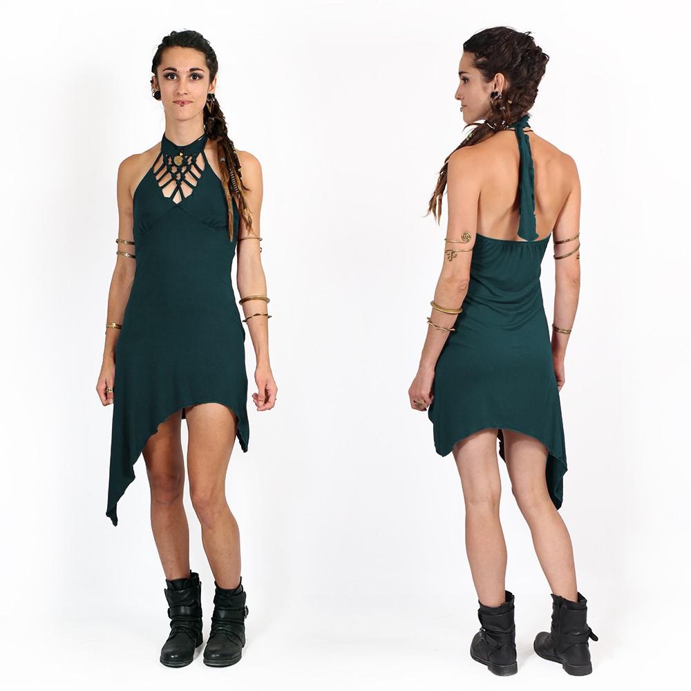 "\""Akanksha\"" half long dress, Teal"