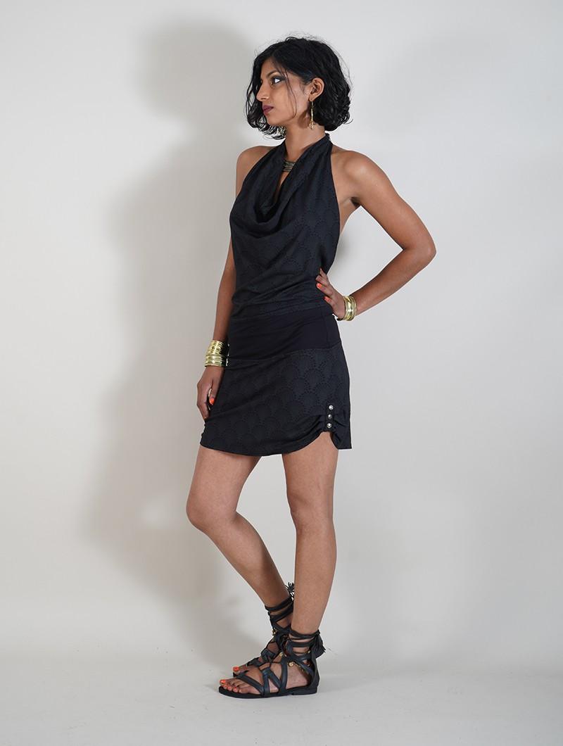 "\""Akasha Drop\"" halter dress, Black"