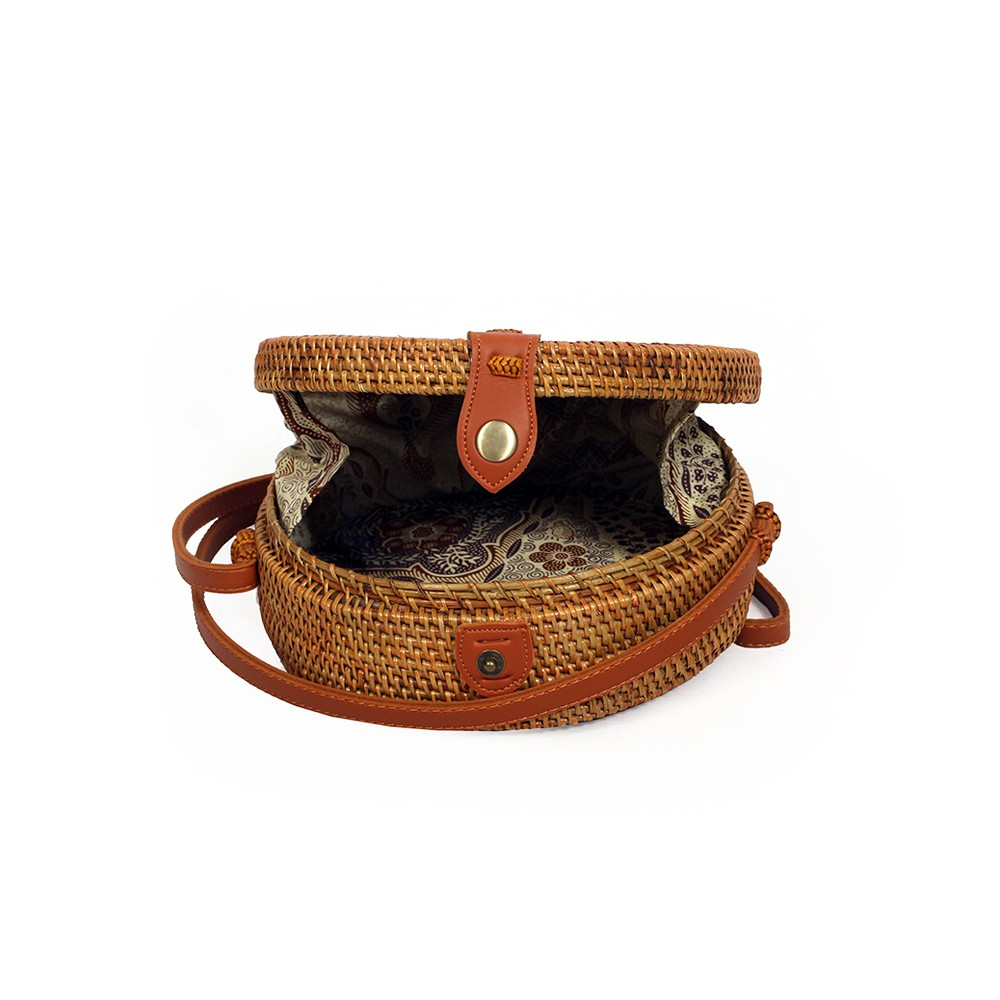 """Akela\"" rattan small purse, Brown leather"