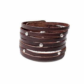 """Akshay\"" leather studded bracelet, Brown"