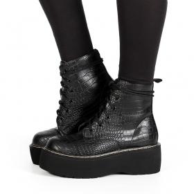 "\""Alannah\"" Platform boots, Croco black"