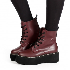"\""Alannah\"" Platform boots, Wine matte"