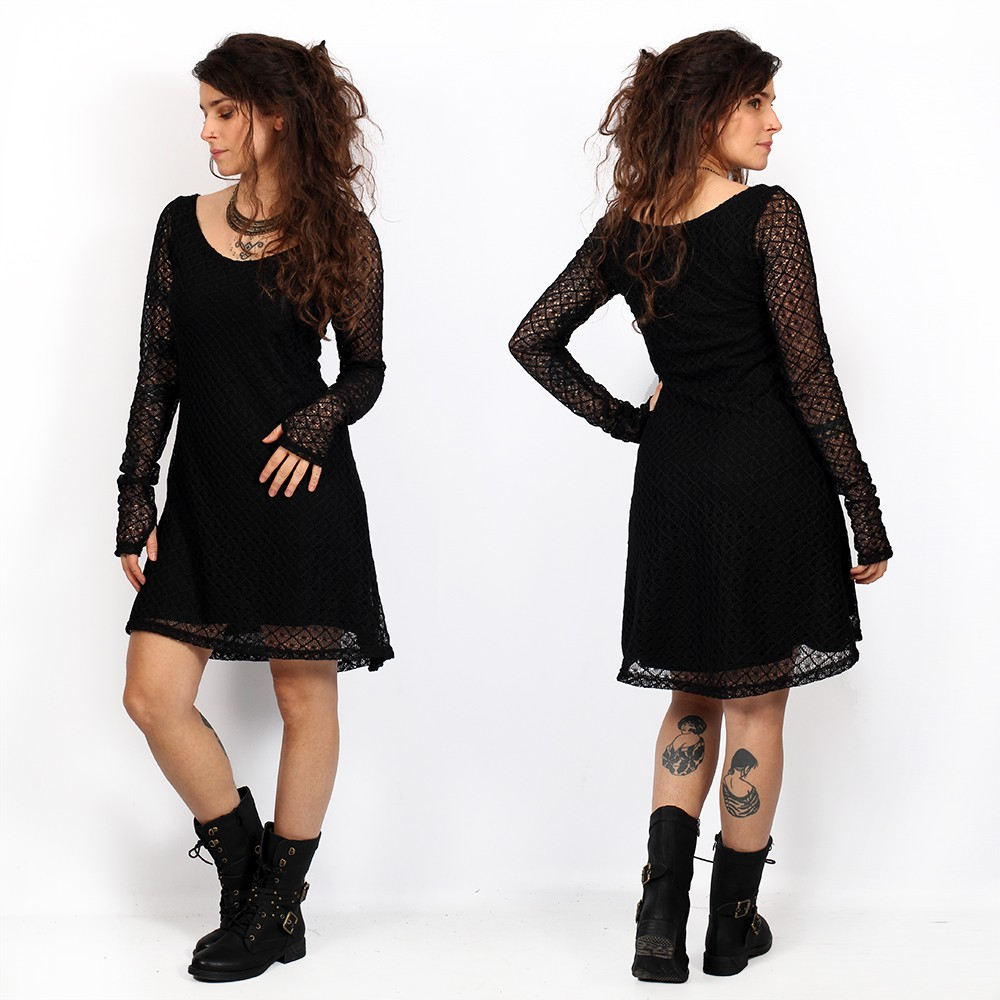 alchemÿa yggdrazil black lace dress, lovely short flared dress with a crochet lining dress, long transparent sleeves and wide round elegant neckline, roots, dark boho, mori dress, goth, skater dress