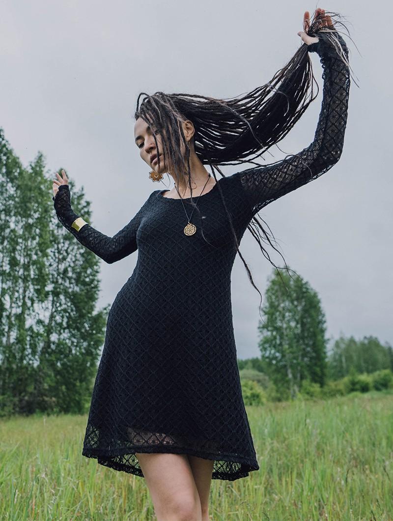 "\""Alchemÿa\"" crochet lining dress, Black"