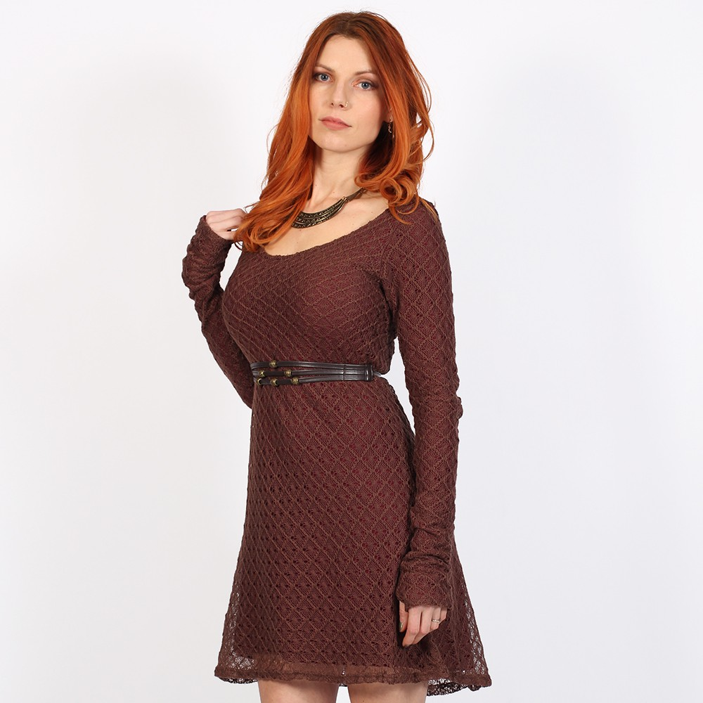 """Alchemÿa\"" crochet lining dress, Brown & wine"