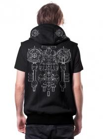 "\""Alchemist\"" sleeveless zipped hoodie, Black"