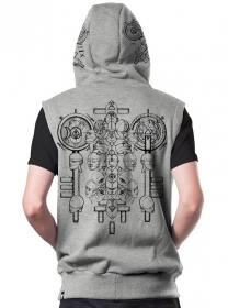 "\""Alchemist\"" sleeveless zipped hoodie, Mottled grey"