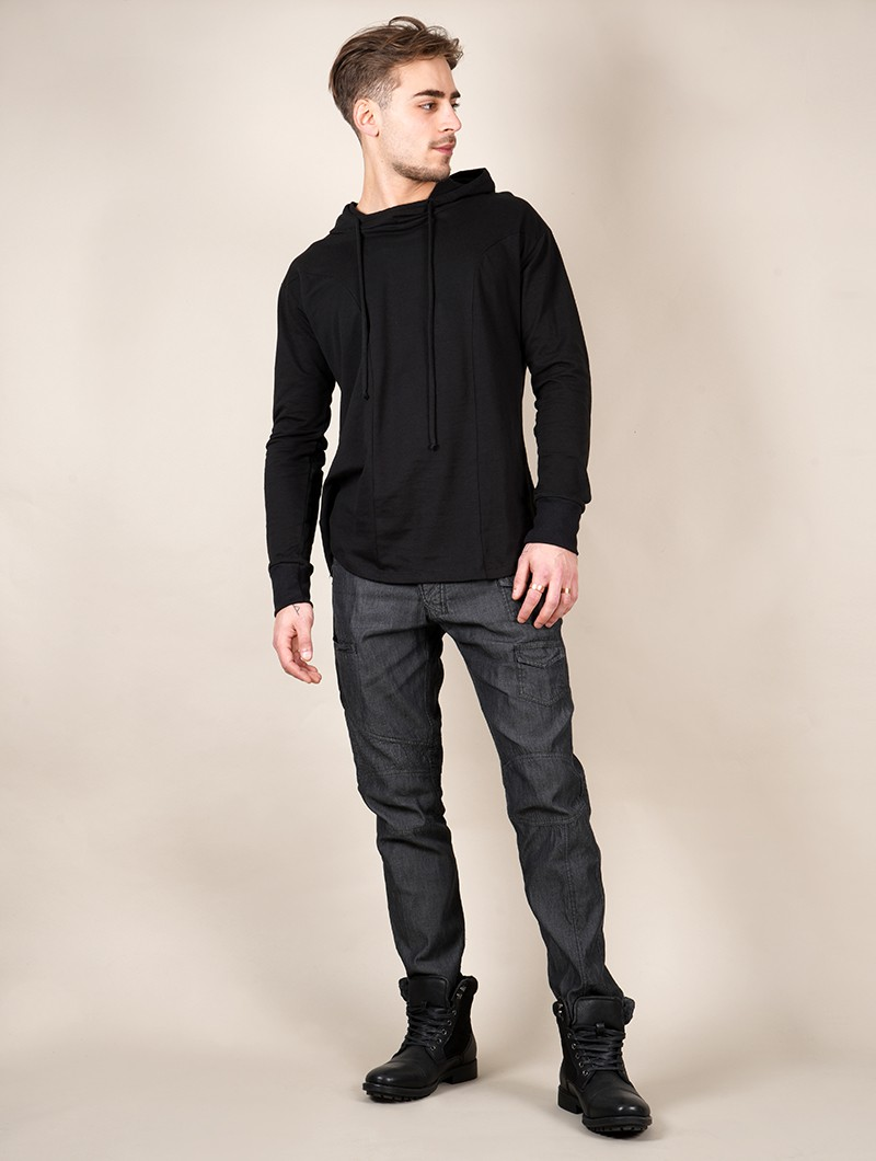 """Aldaron\"" hooded long sleeve shirt, Black"