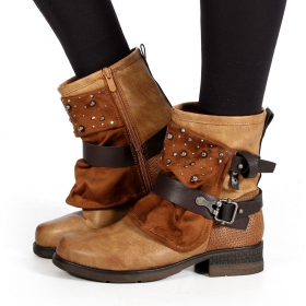 """Alyiah\"" boots, Camel brown"