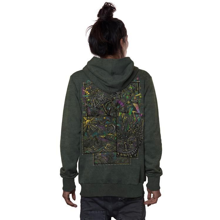 "\""Ambiride\"" zipped hoodie, Khaki green wash"