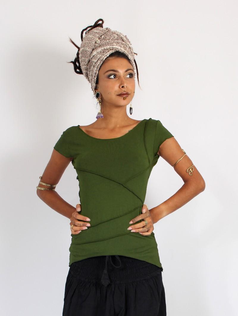 "\""Amnakalya\"" top, Khaki green"