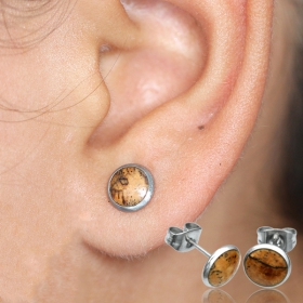 """Amond circle\"" stud earrings"
