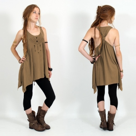 """Amonet\"" knotted tunic, Brown and black"