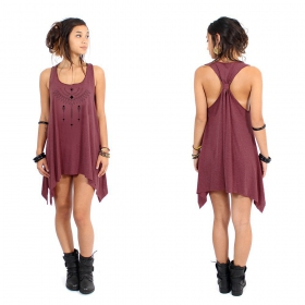 """Amonet\"" knotted tunic, Mottled wine and black"