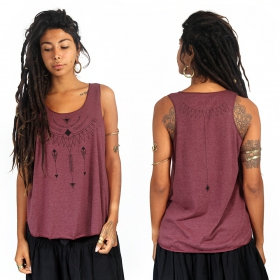 """Amonet\"" tank top, Mottled wine and black"