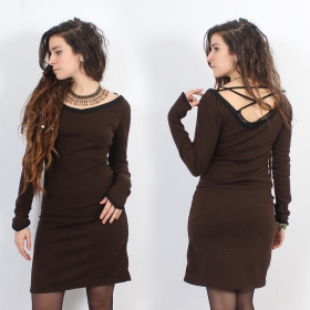 "Anaëly\"" dress, Brown and Black"