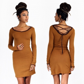 "Anaëly"" dress, Rusty and Brown"