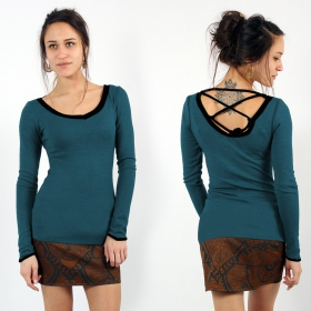 """Anaëly\"" pullover, Teal and black"