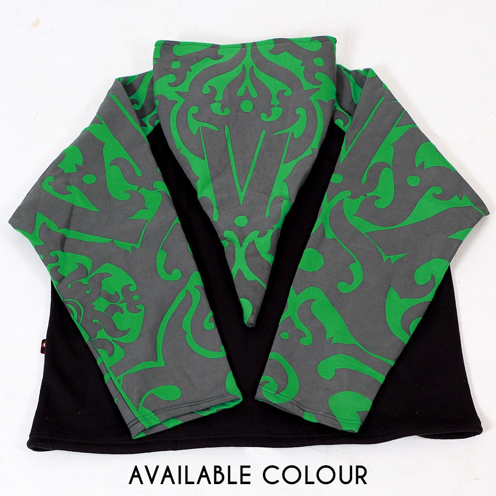 """Anapa Iban Borneo\"" pointy hooded jacket, Green and black"