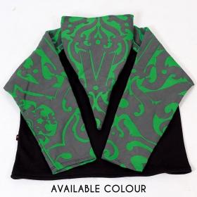 "\""Anapa Iban Borneo\"" pointy hooded jacket, Green and black"