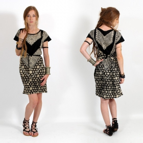 """Andalusia\"" dress, Black and gold"