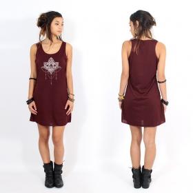 "\""Anitaya\"" dress, Wine and Silver"