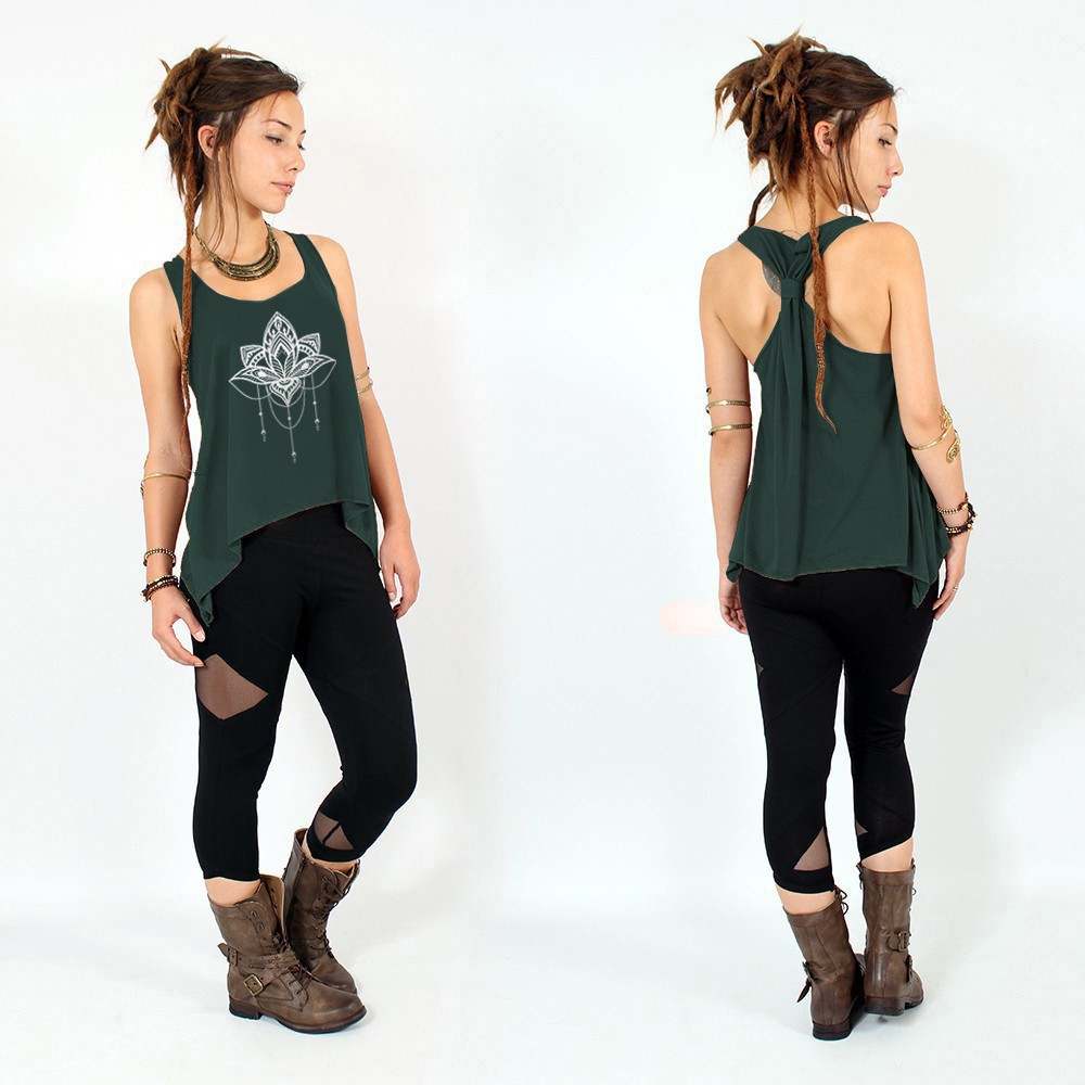 """Anitaya\"" knotted tank top, Teal and silver"