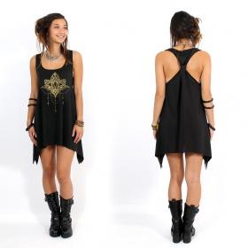 "\""Anitaya\"" knotted tunic, Black and gold"