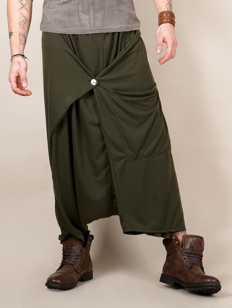 """Anju\"" Gender neutral harem pants, Khaki green"