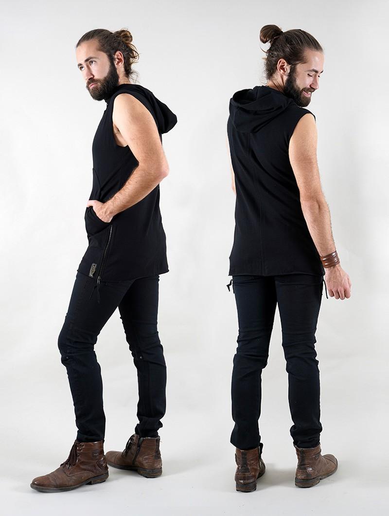 "\""Anuket\"" Gender neutral sleeveless hooded jacket, Black"