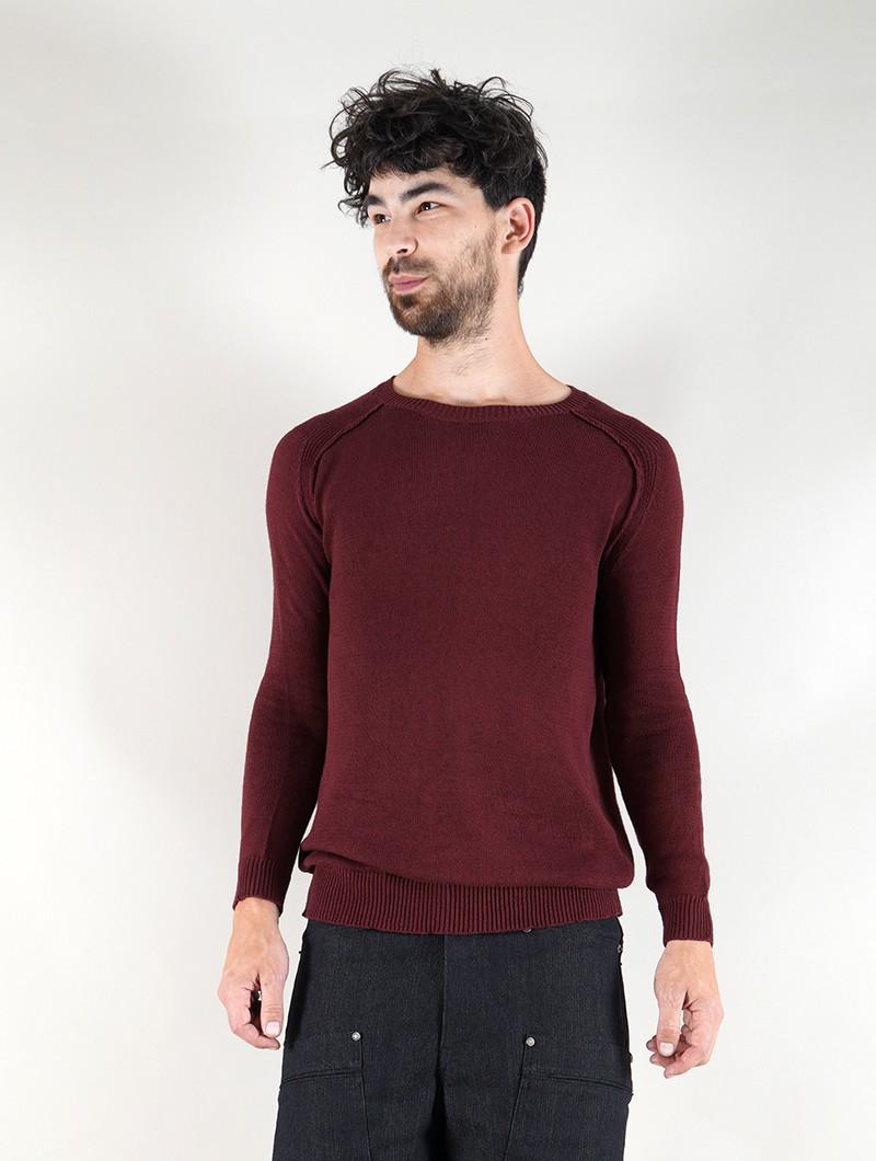 "\""Arga\"" cotton sweater, Wine"