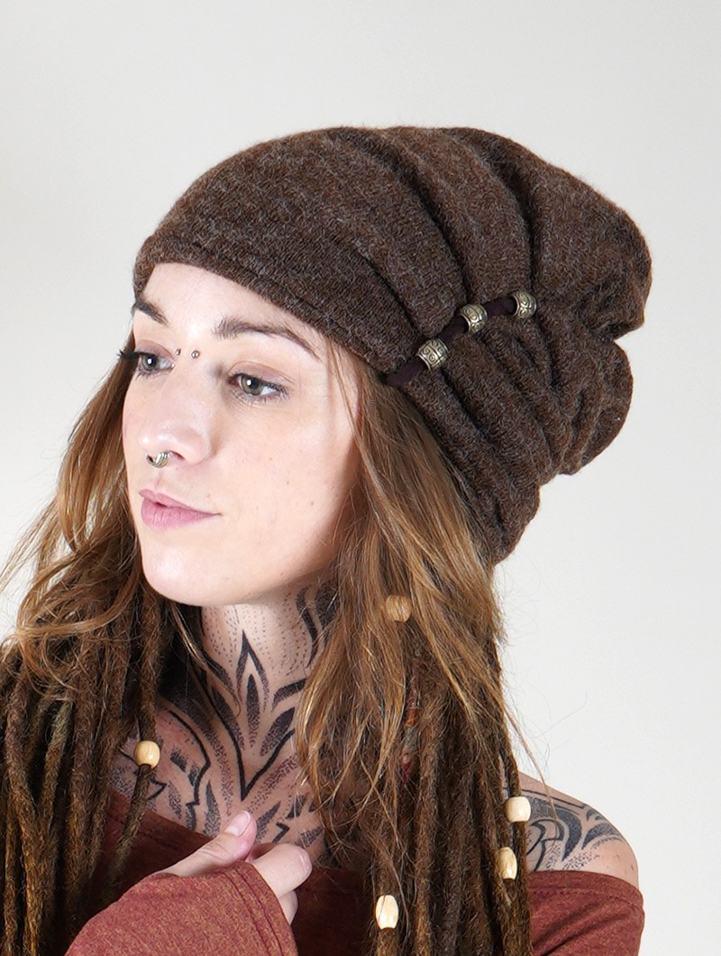 """Aslany\"" beaded beanie, Brown"