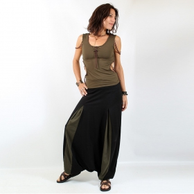 """Aslesha\"" harem pants\"", Black and khaki"