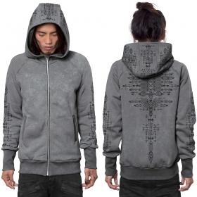 "\""Astarta\"" zipped hoodie, Wash grey"