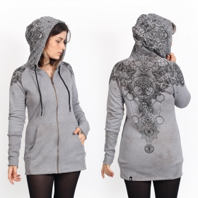 """Asteria\"" zipped long hoodie, Mottled grey"