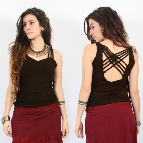 """Atheia\"" top, Dark brown"