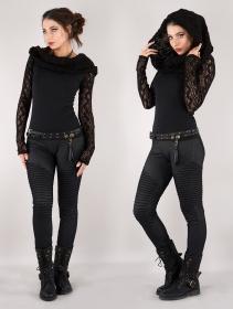 "\""Atmäa\"" crochet long sleeve top, Black"