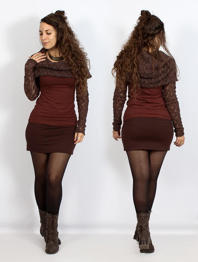 "\""Atmäa\"" crochet long sleeve top, Brown and sienna"