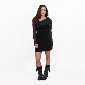 "\""Atmäa\"" crochet long sleeved dress, Black and grey"