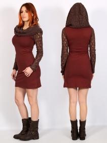 "\""Atmäa\"" crochet long sleeved dress, Brown and sienna"
