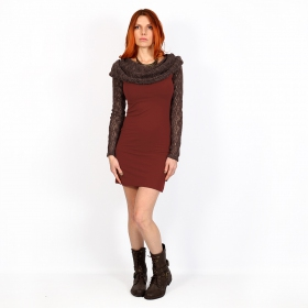 """Atmäa\"" crochet long sleeved dress, Brown and sienna"