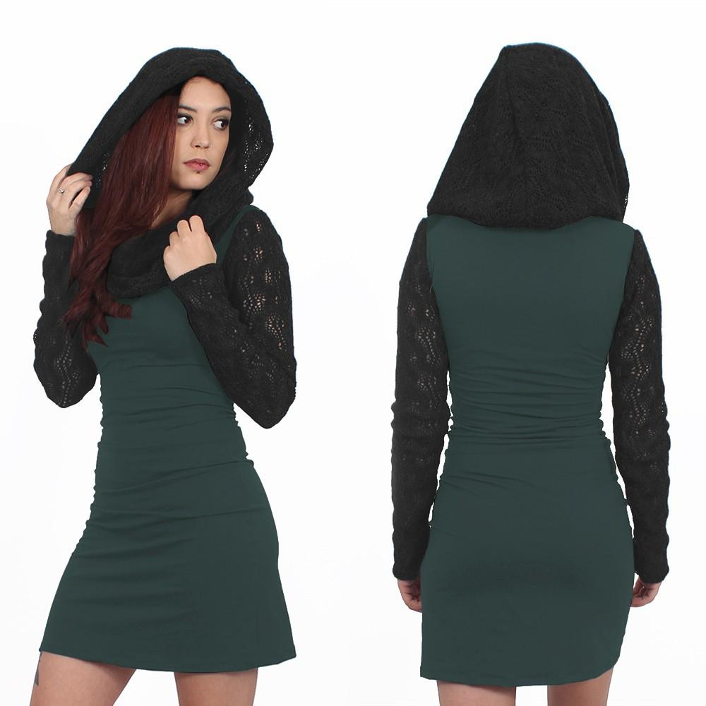 "\""Atmäa\"" crochet long sleeved dress, Dark teal and grey"