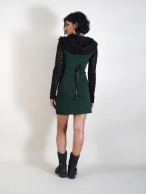 "\""Atmäa\"" crochet long sleeved dress, Peacock teal and black"