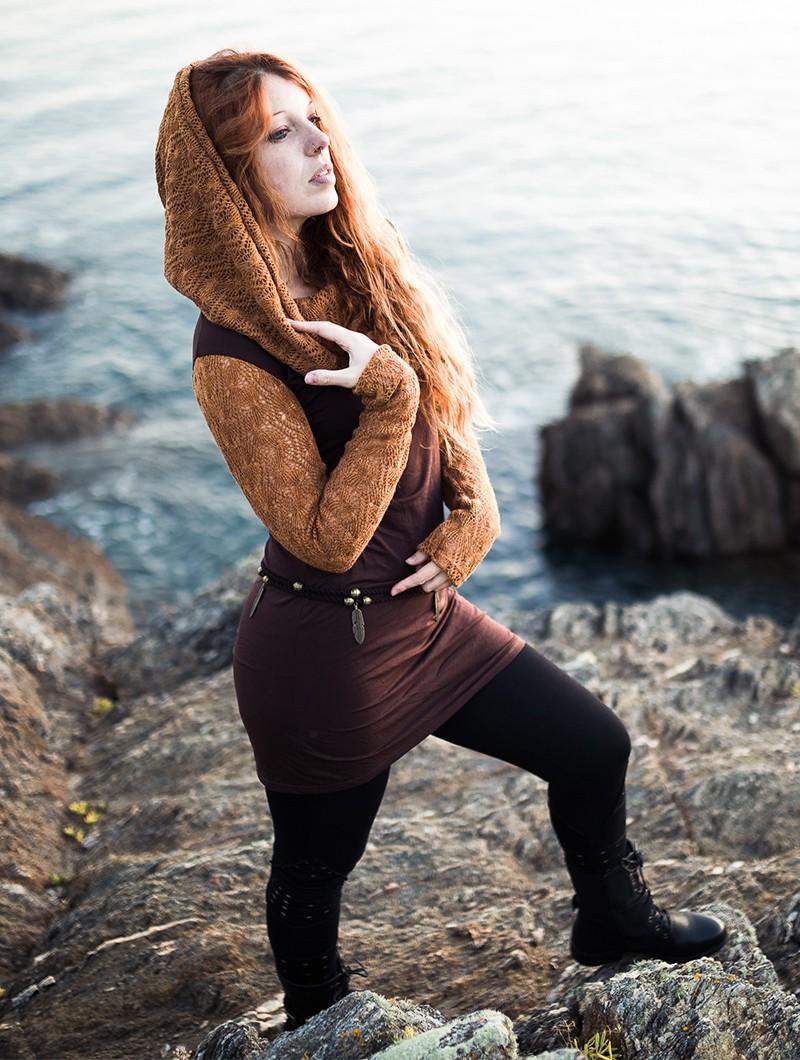 "\""Atmäa\"" crochet long sleeved dress, Rusty and black"