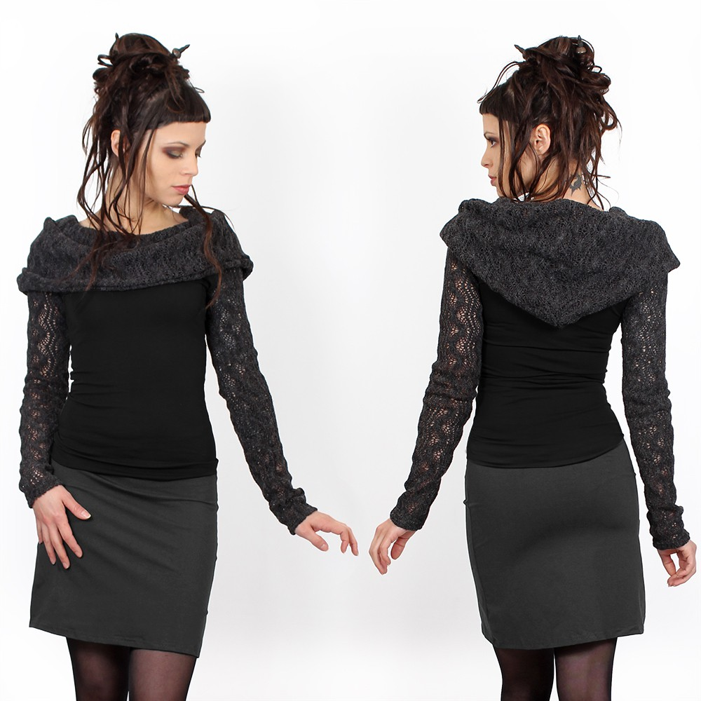 "\""Atmäa\"" crochet long sleeves top, Black and grey"
