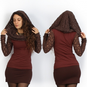 """Atmäa\"" crochet long sleeves top, Brown and sienna"